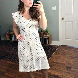 GILLI White Polka Dot Ruffle Midi Pocket Dress S
